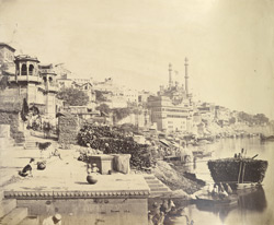 View of the ghats at Benares with Aurangzeb's mosque in the distance.
